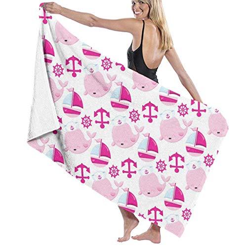 Toallas Shower Towels Beach Towels Bathroom Towels Toalla De Baño Toallas de baño de piscina de ballena náutica rosa de dibujos animados Toalla 130 x 80 CM