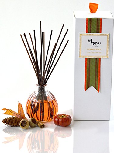 24 Hour Sale | Manu Home pumpkin reed diffuser set | 6.5 ounce fill | Nostalgic scent crafted with aromatherapy oils and real pumpkin extract. Made in USA.