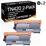 2 Pack TN-420 Black TN420 Compatible Toner Cartridge Replacement for Brother HL-2130 HL-2132 HL-2220 HL-2230 HL-2240 HL-2240D MFC-7240 MFC-7360N DCP-7060D DCP-7065D Intellifax 2840 Printers.
