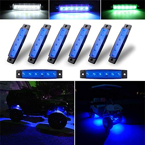 Botepon 8Pcs Led Rock Lights, Strip Lights, Wheel Well Lights, Led Underglow Kit for Golf Cart, Jeep Wrangler, RZR, Offroad, F150, F250, Snowmobile (Blue)