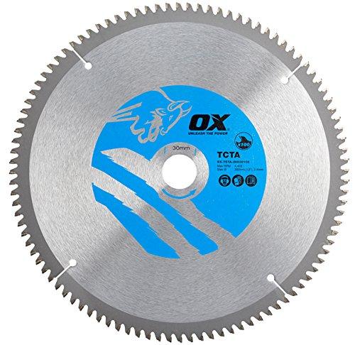 OX Tools OX-TCTA-30030100 OX Hoja de Sierra Circular de Corte de Aluminio/plástico/Laminado Dientes, 0 V, Silver/Blue, 300/30mm, 100 Teeth TCG