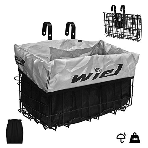 Wiel Bike Basket with Black Liner Rainproof Cover, Folding Steel Bicycle Basket Easy Install to Front Handlebar or Rear Rack, Heavy-Duty Metal Wire Bearing 33 lbs for Commuter Grocery Shopping Picnic
