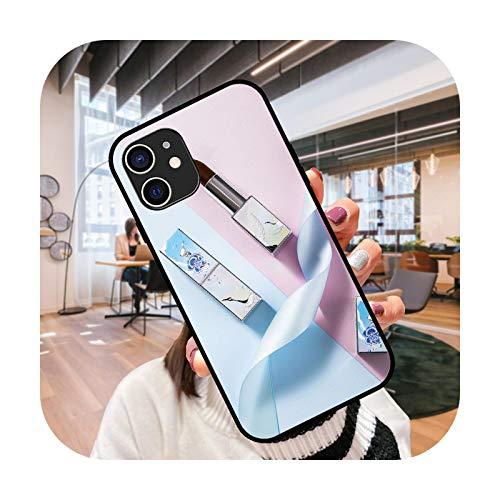Funda de teléfono para iPhone 12 Mini 11 Pro XS MAX XR X 8 7 6S 6 Plus negro cubierta funda moda impermeable elegante lápiz labial chica-G3-iPhone 7 (8) Plus