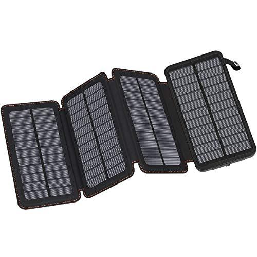 FEELLE Solar Powerbank 25000mAh, Solar Ladegerät mit 2 USB Ausgängen Wasserdichter Externer Akku Kompatibel mit den meisten Handys, Tablets und mehr