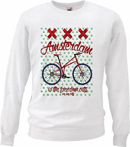 Pullover met capuchon Amsterdam voor fiets, mountainbike, fiets, reparatie, wit