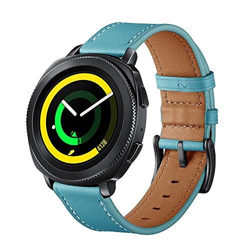 Dee Plus Nuevo 20mm Reloj Banda Cuero Genuino Compatibles Samsung Gear S4, Gear Sport Smart Watch Band Ajustable Deporte Rápido Lanzamiento Replacement Bracelet Hebilla Negra,Bolsa de Regalo de Marca
