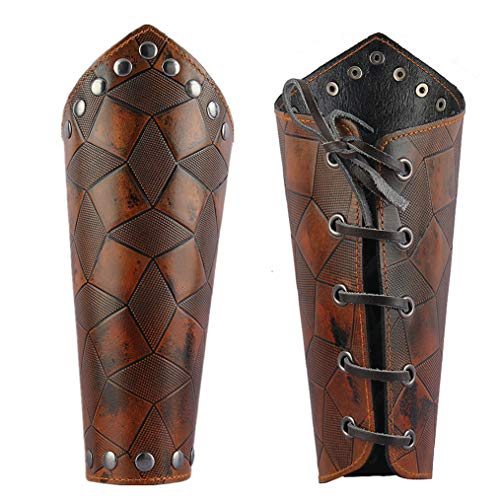 Jeilwiy Leather Armor Medieval Gauntlets Wristband Guard Punk Costume Wide Bracer Arm Cuff for Men Women