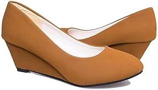 [ムリョシューズ] ラウンドトゥ ウェッジヒール パンプス レディース 靴 黒 ブラック カーキ ぺたんこ ローヒール 大きいサイズ 痛くない ウェッジソール 歩きやすい ヒール カジュアル 通勤
