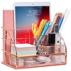 ELEGANT DESIGN: ARCOBIS rose gold desk organizer has been specially washed down, colored, sprayed and dried to give it that amazing spark of rose gold. If you want to add some classy, feminine touches on your workspace, the Rose Gold product fits the...