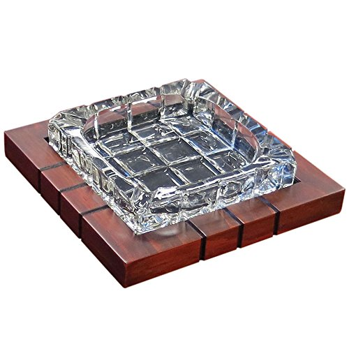 Prestige Import Group Wood & Crystal Cross-Hatched Ashtray - Color: Mahogany