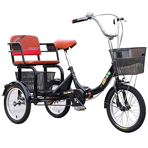 zyy Dreirad für Erwachsene 16 Zoll 1 Gang Zusammenklappbar 7 Geschwindigkeit Zahnräder mit Warenkorb 3 Rad Fahrrad für Erwachsene Tricycle Lastenfahrrad Senioren Shopping Bike (Color : Black)