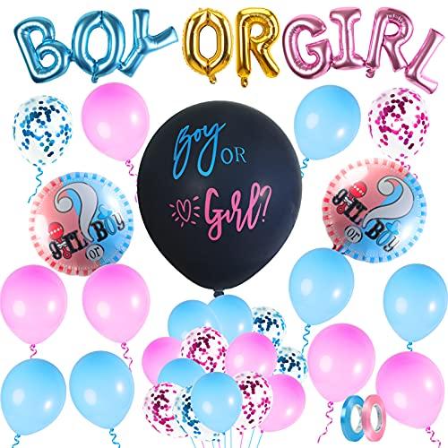 FORMIZON Globos de Revelación de Género, 32 Piezas Decoraciones Baby Shower, Revelan Decoraciones De Fiesta, Confeti Globos de Azul Rosa, Juego de decoración Fiesta para Baby Shower Cumpleaños