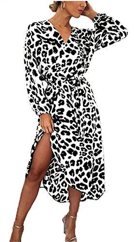 Vestido De Manga Larga Para Mujer, Sexy De Mujer Con Cuello En V Leopardo Vestido De Impresión De Playa...
