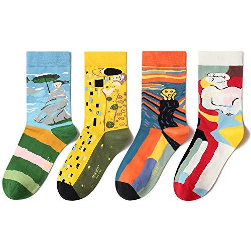 InvokerTech Damen Socken, 4 Paar Baumwolle Socken Bunte Farben Stricksocken für Männer & Frauen Einheitsgröße Atmungsaktiv Warm Weich (Ölgemälde (EU 36-43))