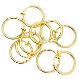 Lot de 10 faux anneaux pour oreilles, lèvre, nez, piercing arcade placage or ionique