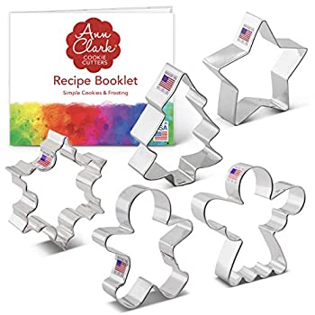 Ann Clark Cookie Cutters 5-Piece Christmas and Holiday Cookie Cutter Set with Recipe Booklet Snowflake Star Christmas Tree Gingerbread Man and Angel