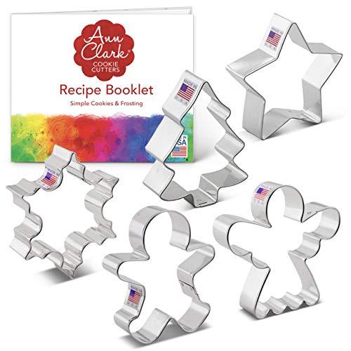 Ann Clark Cookie Cutters Juego de 5 cortadores de galletas Navidad/festividades con libro de recetas, copo de nieve, estrella, árbol de Navidad, hombre de jengibre y ángel - Acero fabricado en EE.UU.