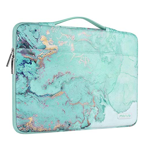 MOSISO 360 Protective Laptop Sleeve Compatible with 13-13.3 inch MacBook Pro, MacBook Air, Notebook Computer, Polyester Watercolor Marble Bag with Trolley Belt, Green
