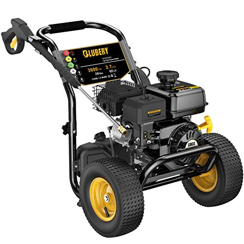 BLUBERY 3600 PSI & 2.7 GPM Gas Pressure Washer, Heavy Duty Power Washer, 50Ft High Pressure Hose&Soap Tank, 5 Adjustable Nozzles, CARB Compliant,Black