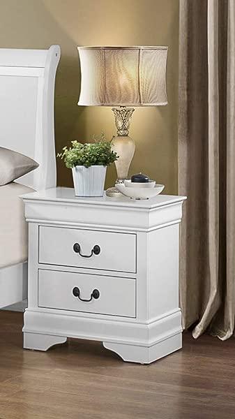 Benjara Benzara BM174486 Classy Nightstand With Spacious Drawers White