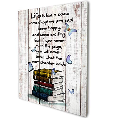 akeke Book Lover Poster Vintage Rustic Farmhouse Wood Wall Art Decor, Inspirational Literary Quotes Gifts for Book Lover Friend Son Daughter, 8'x10'