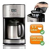 Filter Kaffeemaschine mit 2 Thermoskannen je 1,2 Liter - Timerfunktion + Warmhaltefunktion - hält...