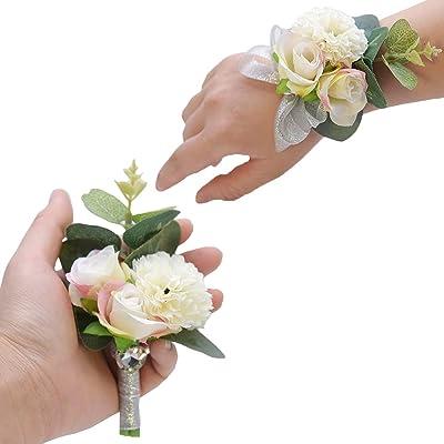 1 Juego Boda Boutonniere, Ramillete Flores Muñeca, Ramillete Novio, Nupcial Ramilletes Accesorios, Se Utiliza para Bodas, Bailes, Ceremonias de Graduación (Rosa Blanco)