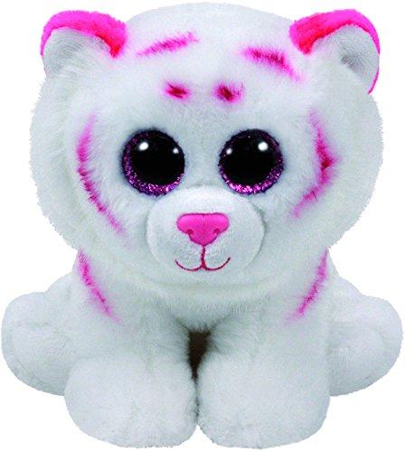 Carletto Ty 90247 - Tabor - Tiger mit Glitzeraugen, Beanie Classic, 33 cm, rosa/weiß