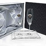 la galaica Set/Confezione 2 calici di Champagne per Gli sposi, Nozze d'Argento/Oro, anniversari + Vassoio in Cristallo, Collezione GASTRO-50 Aniversario, bilaminato Applicare.
