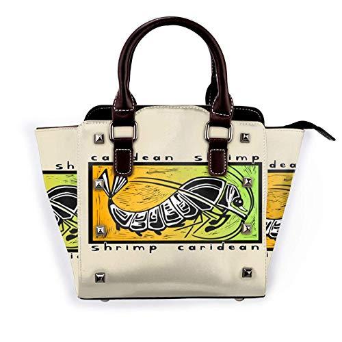 Aquarium Shrimp Pattern Fashion Pu, Lederniet Umhängetasche Handtasche, School Work Travel Gym Einkaufstasche
