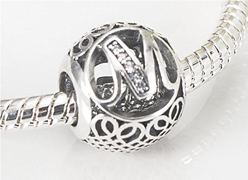 26 Letter Initial Character 925 Sterling Silver Bead Charm fit Pandora Chamilia Bracelet Necklace Jewlery (Letter M)