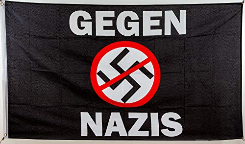 Everflag Flagge Gegen Nazis 90 x 150 cm mit Ösen + Aufkleber
