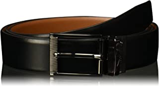 Perry Ellis Women's Big and Tall Reversible Feather Edge Leather Belt with Textured Buckle