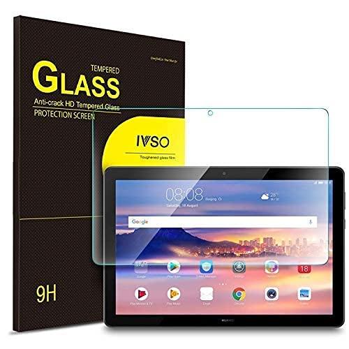 IVSO Huawei MediaPad T5 10 適用 タブレット ガラスフィルム 10インチ 新型 タブレット 強化ガラスフィルム 耐指紋 撥油性 表面硬度9H ラウンド加工処理 飛散防止処理 高透過率 光沢表面仕様 画面保護 指紋防止 保護シート - Huawei MediaPad T5 10 適用 液晶保護フィルム