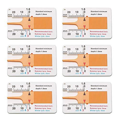 SIMUER 6 Piezas Medidor de Profundidad de la Banda de Rodadura del Neumático Rango 0-20mm, para Coche Motocicleta Coche Furgoneta Caravana Remolque Rueda Medida - Amarillo