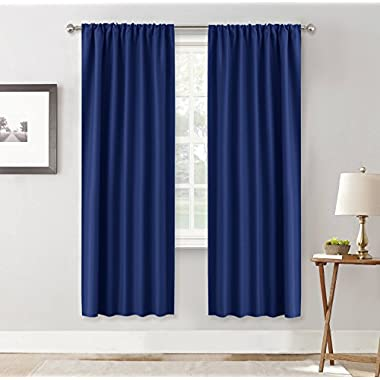 Living Room Blackout Curtain Panels - RYB HOME ( W 42 x L 72 in, Navy Blue, 2 Pieces ) Home Décor Drapes Rod Pocket Window Treatments Energy Efficient Blocking Lights for Living Room
