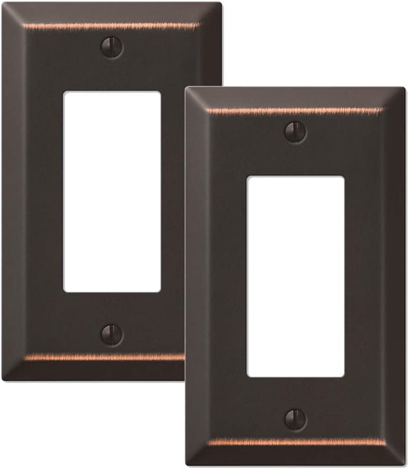 2-Pack Rocker GFCI Outlet Switch Toggle Wall Plate, Oil Rubbed Bronze