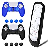 PS5 Media Remote Cover with 2PCS PS5 Controller Cover, Silicone PS5 Remote Control Protection Case Silicone PS5 Controller Grips with 4Pcs Joystick Grip Caps Compatible with Sony PS5 Playstation