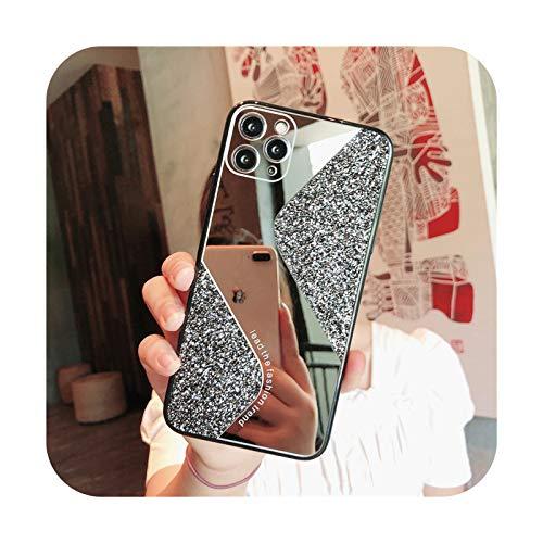 Moda lujo espejo brillo teléfono caso para iPhone 11 12 Pro Max XS X XR 7 8 6 6S Plus SE 2020 mini fundas a prueba de golpes cubierta negro para iPhone Xs Max