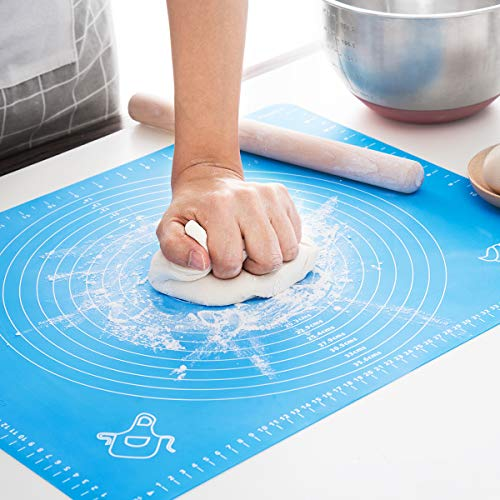 LIMNUO Silicone Pastry Mat for Pastry Rolling with Measurements Thick Non Stick Baking Mat with Measurement Fondant Mat Counter Mat Dough Rolling Mat