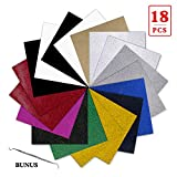 YRYM Glitter Heat Transfer Vinyl Bundle:18 Pack 12'x 10' Sheets Glitter Vinyl,11 Assorted Colors, Glitter Iron On Vinyl for Fabrics T-Shirts Heat Press Machine or Silhouette Cameo