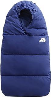 WYT Bebé Saco de dormir Para invierno Pluma abajo Algodón Grueso Recién nacido Envolverse Con Cremallera 76cm,Oscuro Azul
