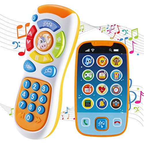 JOYIN Juguetes de Teléfonos Inteligentes para Bebés, Teléfono de Bebé con Control Remoto con Música