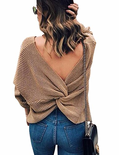 Sexyshine Women's Casual V Neck Criss Cross Backless Long Batwing Sleeve Loose Knitted Sweater Pullovers,Khaki