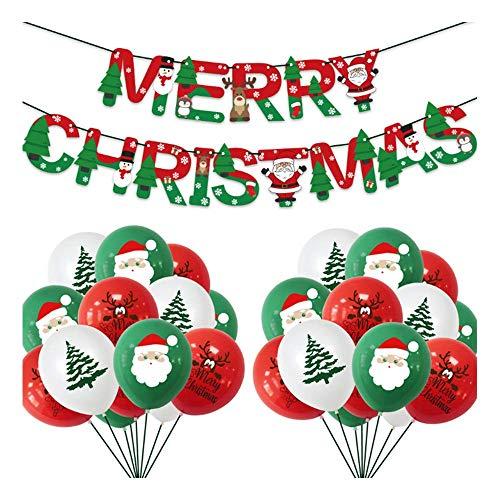 Wondsea Lot de 30 ballons de décoration de fête de Noël en latex, 1 bannière Joyeux Noël, ballon Père Noël, ensemble de décoration de Noël professionnel pour l'intérieur ou l'extérieur