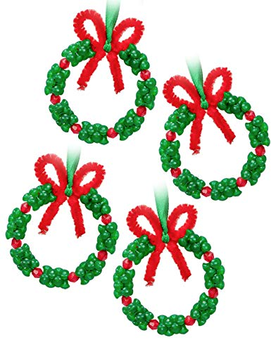 Christmas Beaded Ornament Kit - Xmas Party Craft Wreath Holiday Tree Decorations Kids Supplies, 24 Pieces