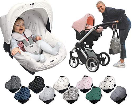 DOOKY HOODY Style UV+ Universal Verdeck für Maxi Cosi Cabrio / CabrioFix / Pebble / Citi, Römer und andere Babyschalen Gruppe 0+ als Sonnenschutz / Sonnenverdeck (Grey Stars)