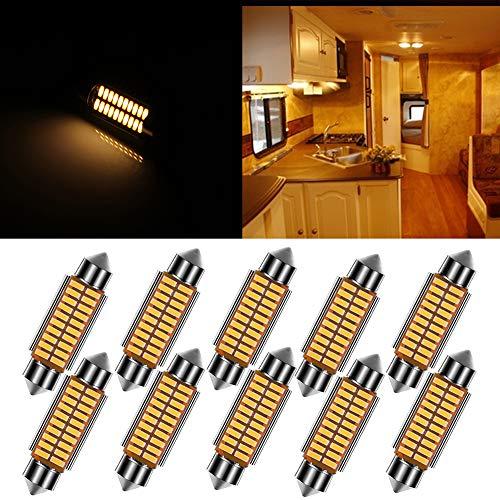 ECCPP 10x 42mm Warm White Interior Festoon Car LED 211 212-2 214-2 211-2 214-2 6411 560 569 578 Working Bulb Lights 12V for Dome Light Map Light Glove Box Light Door Light Trunk Cargo Light