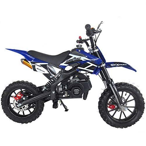 SYX MOTO Kids Mini Dirt Bike Gas Power 2-Stroke 50cc Motorcycle Holeshot Off Road Motorcycle Holeshot Pit Bike, Pull Start, Blue