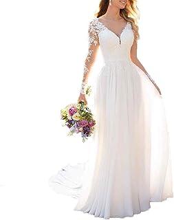 Abito da sposa in chiffon con maniche lunghe, profondo scollo a V, abito da damigella d'onore